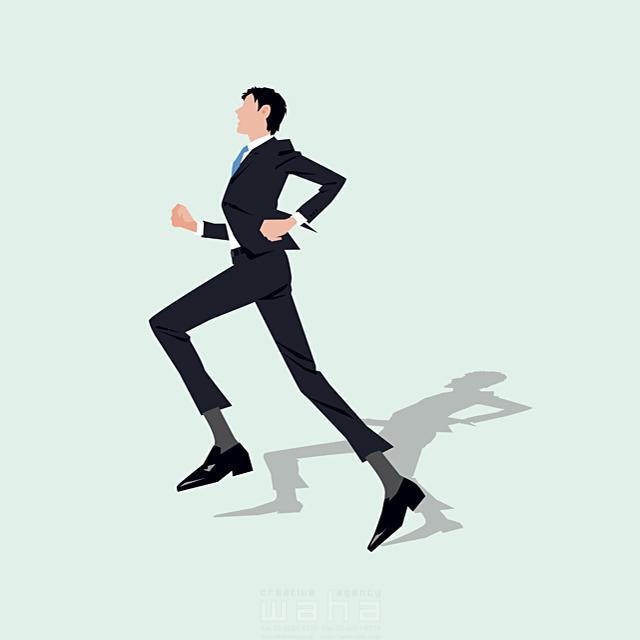 イラスト&写真のストックフォトwaha(ワーハ) 人、男性、大人、若者、20代、30代、ビジネス、仕事、ビジネスマン、サラリーマン、スーツ、全身、働く人、パワフル、走る、道、営業、やる気、フレッシュ、社会人、会社、スマート、爽やか 都筑 みなみ 19-2666b
