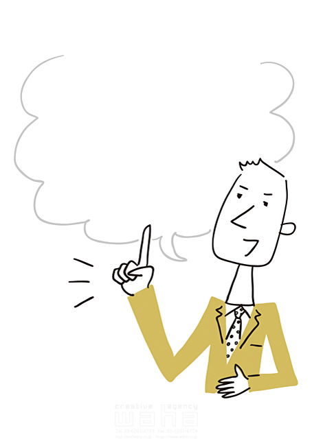 イラスト&写真のストックフォトwaha(ワーハ) 線画、人、男性、大人、ビジネス、ビジネスマン、サラリーマン、仕事、働く人、スーツ、社会人、会社、企業、指さし、メッセージ、コミュニケーション、会話、話す、しゃべる、プレゼン、フリースペース 米澤 美紀 19-2668a
