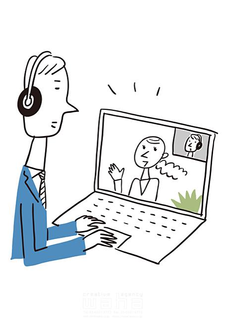 イラスト&写真のストックフォトwaha(ワーハ) 線画、人、女性、男性、大人、ビジネス、ビジネスマン、サラリーマン、キャリアウーマン、仕事、働く人、スーツ、社会人、会社、企業、パソコン、オフィス、会話、コミュニケーション、話す、会議、IT、ネットワーク、通信、つながる 米澤 美紀 19-2670a