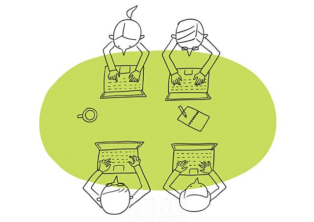イラスト&写真のストックフォトwaha(ワーハ) 線画、人、人々、複数、集団、女性、男性、大人、ビジネス、ビジネスマン、サラリーマン、キャリアウーマン、OL、仕事、働く人、スーツ、社会人、会社、企業、パソコン、オフィス、IT、ネットワーク、テーブル 米澤 美紀 19-2674a