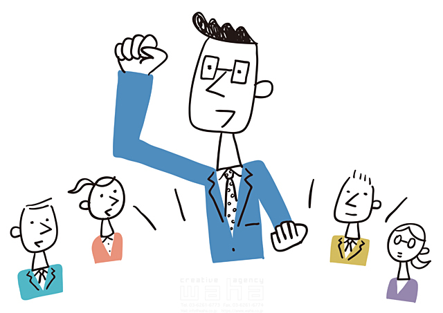 イラスト&写真のストックフォトwaha(ワーハ) 線画、人、人々、複数、集団、女性、男性、大人、ビジネス、ビジネスマン、サラリーマン、キャリアウーマン、OL、仕事、働く人、スーツ、社会人、会社、企業、オフィス、コミュニケーション、ガッツポーズ、嬉しい、賑やか、笑顔 米澤 美紀 19-2675a