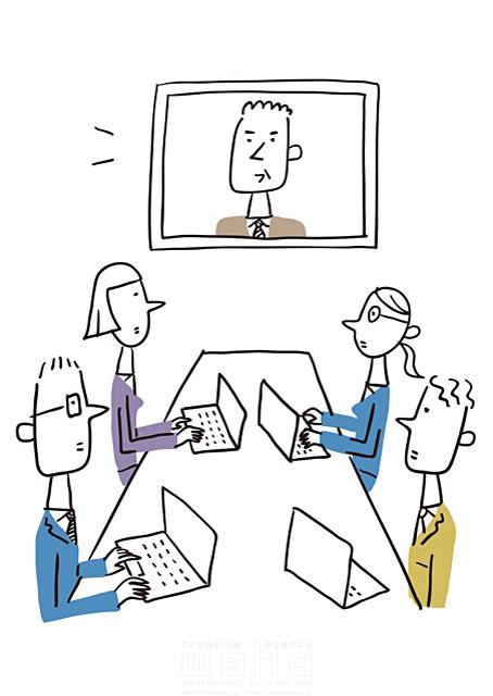 イラスト&写真のストックフォトwaha(ワーハ) 線画、人、人々、複数、集団、女性、男性、大人、ビジネス、ビジネスマン、サラリーマン、キャリアウーマン、OL、仕事、働く人、スーツ、社会人、会社、企業、パソコン、オフィス、会話、コミュニケーション、話す、会議、IT、ネットワーク、通信、つながる 米澤 美紀 19-2676a