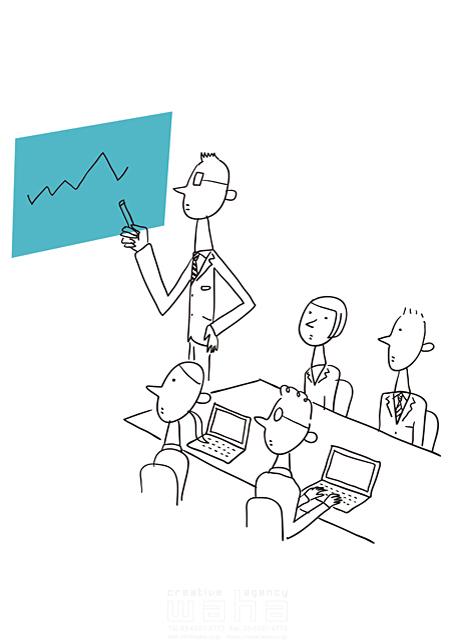 イラスト&写真のストックフォトwaha(ワーハ) 線画、人、人々、複数、集団、女性、男性、大人、ビジネス、ビジネスマン、サラリーマン、キャリアウーマン、OL、仕事、働く人、スーツ、社会人、会社、企業、パソコン、オフィス、会話、コミュニケーション、話す、会議、IT、ネットワーク、通信、グラフ、プレゼン 米澤 美紀 19-2677a