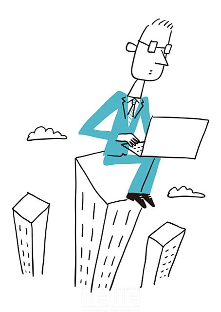 イラスト&写真のストックフォトwaha(ワーハ) 線画、人、男性、大人、ビジネス、ビジネスマン、サラリーマン、仕事、働く人、スーツ、社会人、会社、企業、パソコン、IT、ネットワーク、街並み、都会、都市、ビル、建物 米澤 美紀 19-2681a