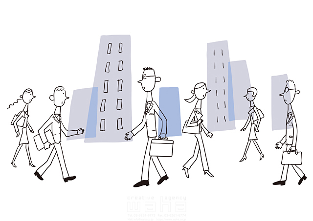 イラスト&写真のストックフォトwaha(ワーハ) 線画、人、人々、複数、集団、女性、男性、大人、ビジネス、ビジネスマン、サラリーマン、キャリアウーマン、OL、仕事、働く人、スーツ、社会人、会社、企業、元気、歩く、営業、街並み、都会、都市、ビル、建物、通勤 米澤 美紀 19-2682a