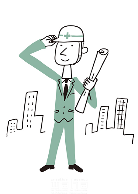 イラスト&写真のストックフォトwaha(ワーハ) 線画、人、男性、大人、ビジネス、ビジネスマン、サラリーマン、仕事、働く人、スーツ、社会人、会社、企業、街並み、都会、都市、ビル、建物、設計、建築、建設、工事、安全、ヘルメット 米澤 美紀 19-2683a