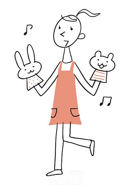 イラスト&写真のストックフォトwaha(ワーハ) 線画、人、女性、大人、ビジネス、ビジネスウーマン、仕事、働く人、職業、社会人、先生、幼稚園、保育園、学校、教育、夢、希望、元気、笑顔、パペット、優しい、楽しい、音楽 米澤 美紀 19-2684a