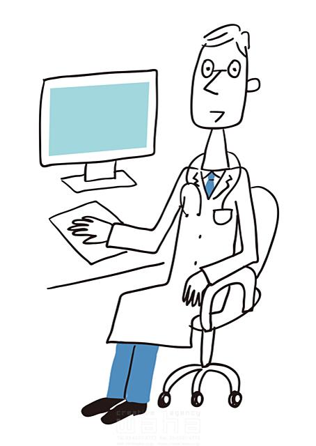 イラスト&写真のストックフォトwaha(ワーハ) 線画、人、男性、大人、ビジネス、仕事、働く人、職業、社会人、先生、医者、医師、病院、医療、診察、白衣、清潔、健康、元気、パソコン 米澤 美紀 19-2686a