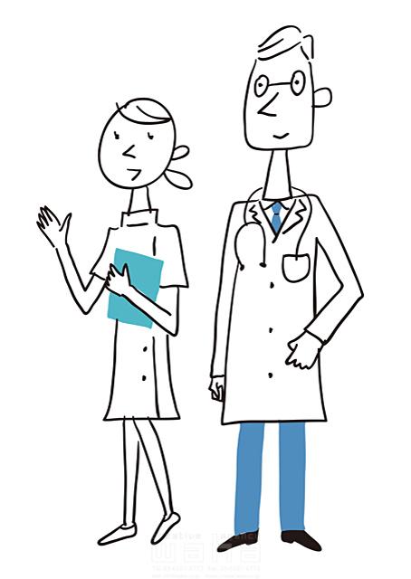 イラスト&写真のストックフォトwaha(ワーハ) 線画、人、人々、複数、女性、男性、大人、ビジネス、仕事、働く人、職業、社会人、先生、医者、医師、看護師、ナース、病院、医療、診察、白衣、健康、元気、清潔 米澤 美紀 19-2687a