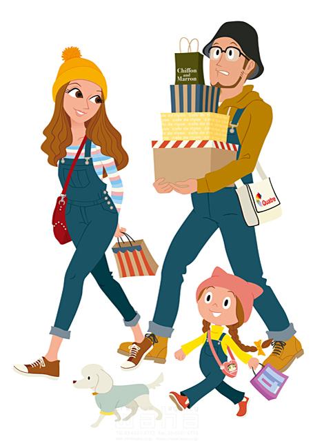 イラスト&写真のストックフォトwaha(ワーハ) 人、人々、複数、女性、男性、家族、親子、大人、お父さん、お母さん、子供、女の子、小学生、犬、ペット、お出かけ、ファッション、おしゃれ、ショッピング、買い物、デパート、ショップ、店、生活、暮らし、日常、嬉しい、ワクワク、楽しい、ポップ、カラフル、明るい 両口 和史 19-2690c
