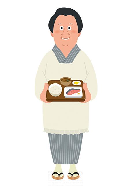 イラスト&写真のストックフォトwaha(ワーハ) 人、女性、大人、中高年、働く人、女将さん、旅館、レストラン、食堂、和食、食事、食べる、ご飯、料理、コミュニケーション、優しい、笑顔、日本、元気、昭和 両口 和史 19-2696b