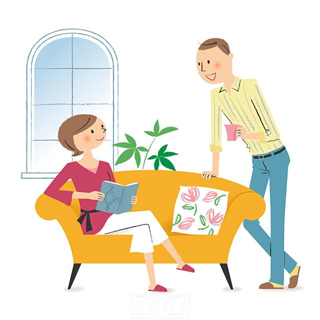 イラスト&写真のストックフォトwaha(ワーハ) 人、人々、複数、女性、男性、大人、家族、お父さん、お母さん、父親、母親、夫婦、カップル、家、住宅、部屋、リビング、ソファ、窓、くつろぐ、憩い、安らぎ、笑顔、会話、コミュニケーション、本、読書、リラックス、優しい、愛情、生活、暮らし 林 よしえ 19-2700b
