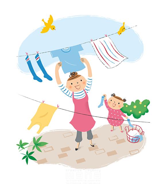 イラスト&写真のストックフォトwaha(ワーハ) 人、人々、複数、女性、大人、家族、お母さん、母親、主婦、奥さん、親子、子供、女の子、小学生、笑顔、子育て、家事、洗濯、お手伝い、庭、屋外、爽やか、風、絆、愛情、優しい、生活、暮らし、日常 林 よしえ 19-2704b