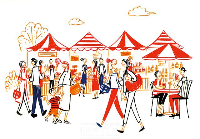 イラスト&写真のストックフォトwaha(ワーハ) 人、人々、集団、群衆、複数、女性、男性、大人、若者、子供、男の子、休日、お出かけ、外出、屋外、散歩、歩く、楽しい、賑やか、会話、話す、コミュニケーション、カフェ、マルシェ、買い物、ショッピング、市場、マーケット、商売、お店、生活、暮らし 石津 雅和 19-2756c