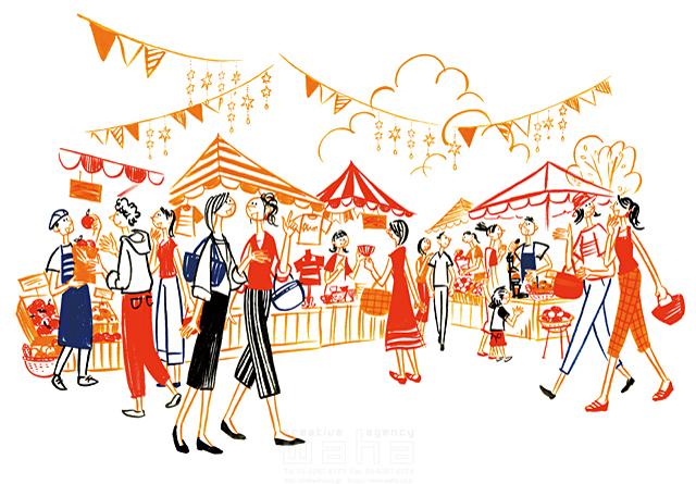 イラスト&写真のストックフォトwaha(ワーハ) 人、人々、集団、群衆、複数、女性、男性、大人、主婦、若者、子供、男の子、休日、お出かけ、外出、屋外、散歩、歩く、楽しい、賑やか、会話、話す、コミュニケーション、マルシェ、買い物、ショッピング、市場、マーケット、商売、お店、生活、暮らし 石津 雅和 19-2759c