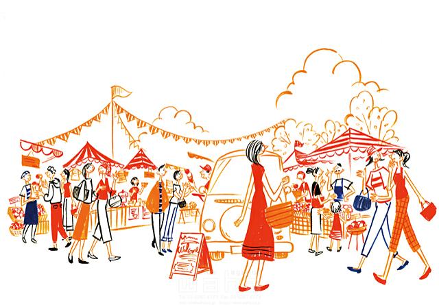 イラスト&写真のストックフォトwaha(ワーハ) 人、人々、集団、群衆、複数、女性、男性、大人、主婦、若者、子供、休日、お出かけ、外出、屋外、散歩、歩く、楽しい、賑やか、会話、話す、コミュニケーション、マルシェ、買い物、ショッピング、市場、マーケット、商売、お店、生活、暮らし、日常 石津 雅和 19-2761c