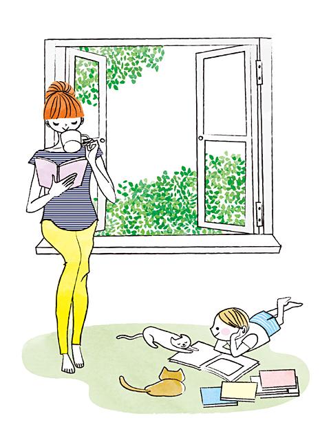 イラスト&写真のストックフォトwaha(ワーハ) 人、人々、複数、女性、男性、大人、奥さん、お母さん、母親、主婦、子供、男の子、小学生、部屋、屋内、住宅、リビング、窓、憩い、安らぎ、リラックス、笑顔、愛情、絆、読書、猫、ペット、自然、緑、ロハス、爽やか、生活 イトガ マユミ 19-2805b