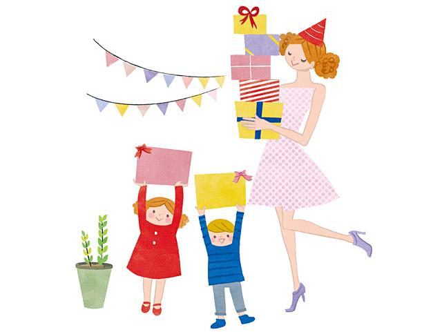 イラスト&写真のストックフォトwaha(ワーハ) 人、人々、複数、女性、男性、家族、親子、大人、奥さん、お母さん、母親、主婦、女の子、男の子、子供、小学生、愛情、ハート、絆、生活、暮らし、日常、楽しい、嬉しい、笑顔、プレゼント、記念日、記念、お祝い、パーティー イトガ マユミ 19-2812b