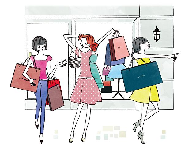 イラスト&写真のストックフォトwaha(ワーハ) 人、人々、複数、女性、大人、若者、休日、ショッピング、お出かけ、女子会、ファッション、おしゃれ、街、都会、ショップ、デパート、バーゲン、セール、安売り、ショッピングバッグ、お店、楽しい、笑顔、絆、生活、暮らし、日常 イトガ マユミ 19-2816c