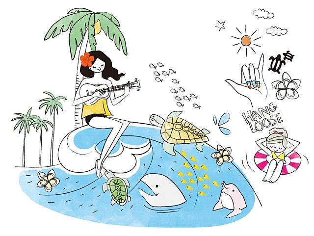 イラスト&写真のストックフォトwaha(ワーハ) 人、女性、家族、親子、大人、若者、母親、お母さん、子供、女の子、小学生、休日、休暇、バカンス、バケーション、旅行、観光、海外、ファッション、お出かけ、季節、夏、海、自然、水、サーフボード、サーフィン、イルカ、太陽、島、トロピカル、ハワイ イトガ マユミ 19-2825c