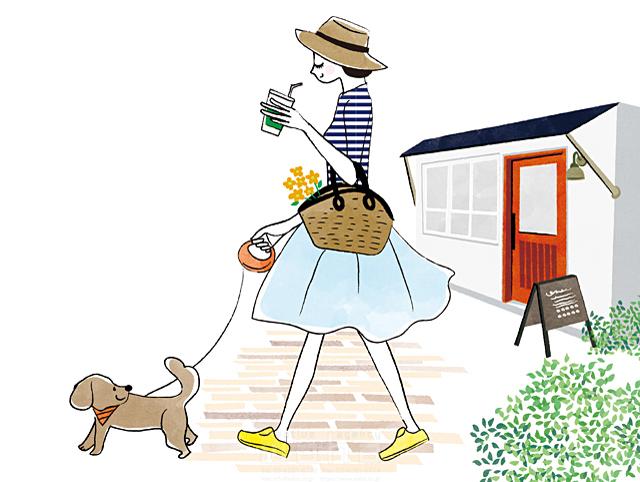 イラスト&写真のストックフォトwaha(ワーハ) 人、女性、大人、屋外、お出かけ、散歩、犬、ペット、カフェ、歩く、生活、暮らし、日常 イトガ マユミ 19-2828b