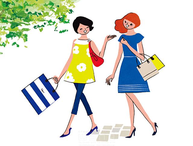 イラスト&写真のストックフォトwaha(ワーハ) 人、人々、複数、女性、大人、若者、友達、お出かけ、ショッピング、買い物、歩く、屋外、生活、暮らし、日常、笑顔 イトガ マユミ 19-2830b