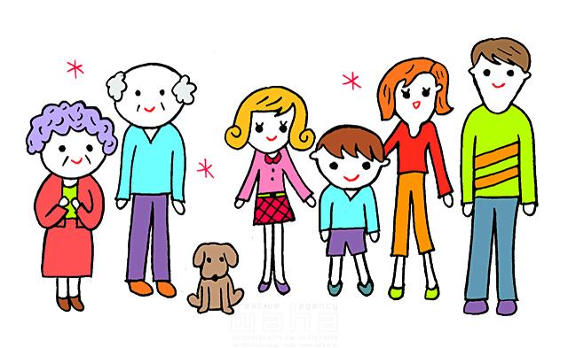 イラスト&写真のストックフォトwaha(ワーハ) 人、人々、女性、男性、複数、集団、家族、三世代、大人、お父さん、お母さん、親子、子供、男の子、女の子、小学生、シニア、老人、おじいさん、おばあちゃん、犬、ペット、笑顔、記念写真、記念撮影 谷口 シロウ 19-2846c