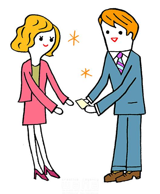 イラスト&写真のストックフォトwaha(ワーハ) 人、人々、複数、女性、男性、大人、若者、ビジネス、ビジネスマン、サラリーマン、ビジネスウーマン、キャリアウーマン、スーツ、仕事、働く、働く人、会社員、社会、名刺交換、会話、コミュニケーション 谷口 シロウ 19-2853b