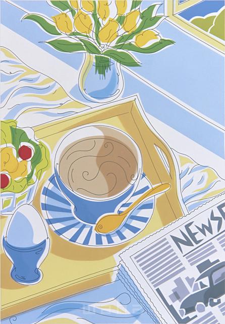 イラスト&写真のストックフォトwaha(ワーハ) 線画、家、部屋、ダイニング、リビング、食事、朝食、朝、憩い、安らぎ、テーブル、花、スープ、紅茶、新聞 おかもと のりこ 2-0760c