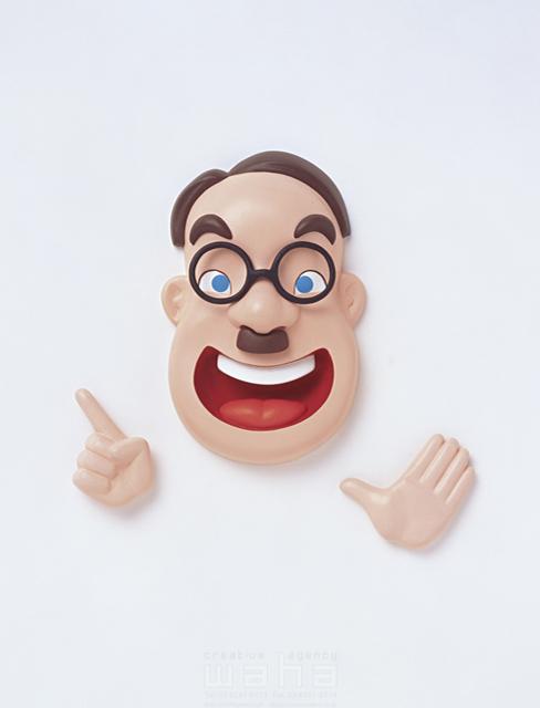 イラスト&写真のストックフォトwaha(ワーハ) 立体、クラフト、笑顔、表情、ちょび髭、七三、丸眼鏡、男性、おじさん、中年、顔、半立体、職業 キムラ 拓 4-0240c