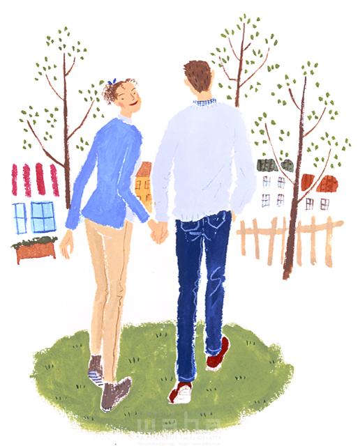 人物 男性 女性 男女 代 30代 カップル 夫婦 デート 散歩 公園 屋外 後ろ姿 振り向く 日常 イラスト作品紹介 イラスト 写真のストックフォトwaha ワーハ カンプデータは無料