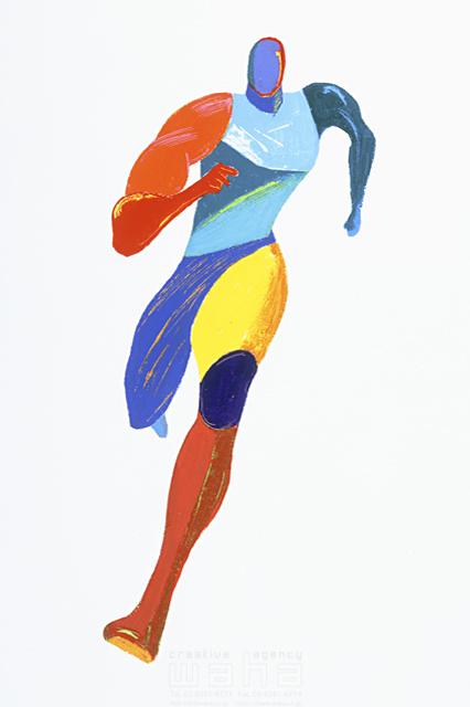 イラスト&写真のストックフォトwaha(ワーハ) 人、人物イメージ、ヒト、男性、五輪、オリンピック、スポーツ、アスリート、走る、パワフル、パワー、大会、リレー、マラソン、選手、筋肉、エネルギー、肉体美、競技、陸上、短距離、リレー、100M走 岩堀 謙一 6-2106b