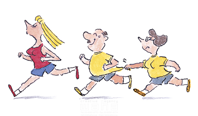 人物、男性、女性、20代、40代、50代、若者、中高年、男女、夫婦、外国人、奔る、ジョギング、ランニング、マラソン、走る、運動 、スポーツ、健康、日常、生活、暮らし、競争、外国人、外人、アメコミ - イラスト作品紹介   イラスト&写真のストックフォトwaha(ワーハ ...